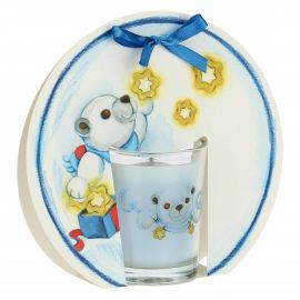 Dolce Inverno candle with Paul the Polar Bear and stars - jasmine