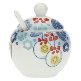 Dolce Inverno porcelain sugar bowl with spoon