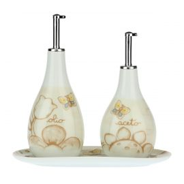 Elegance oil and vinegar set with tray