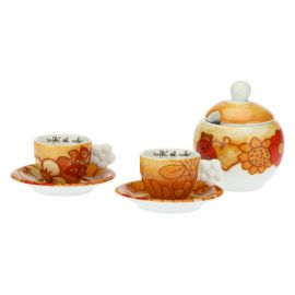 "Set of 2 ""Savana story"" coffee cups with sugar bowl"