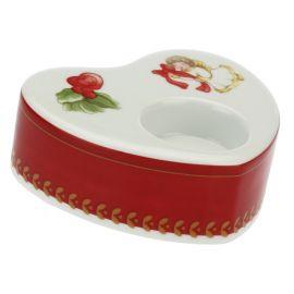 Porta candela in porcellana a forma di cuore Dolce Natale