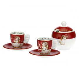 Set of 2 Dolce Natale coffee cups with sugar bowl