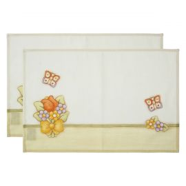 Set of 2 Country placemats and 2 napkins with flowers and butterflies