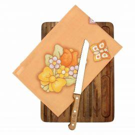 Set tagliere in legno con coltello per pane e canovaccio Country