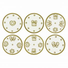 Set mit 6 Korkuntersetzern Gold Icons