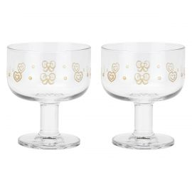 Set of 2 Gold Icons multipurpose glass bowls