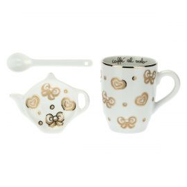 Gold Icons mug tea bag holder and teaspoon set