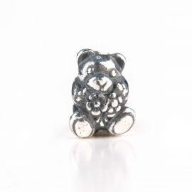 THUN by TROLLBEADS® Teddy with flowers silver bead - Hug me!