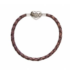 """Bracciale """"My charms"""" in pelle viola antico large"""