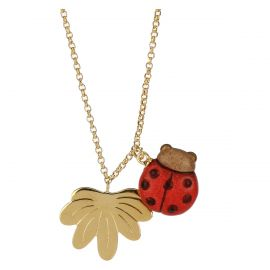 Savana story Current gold-plated necklace with ladybird