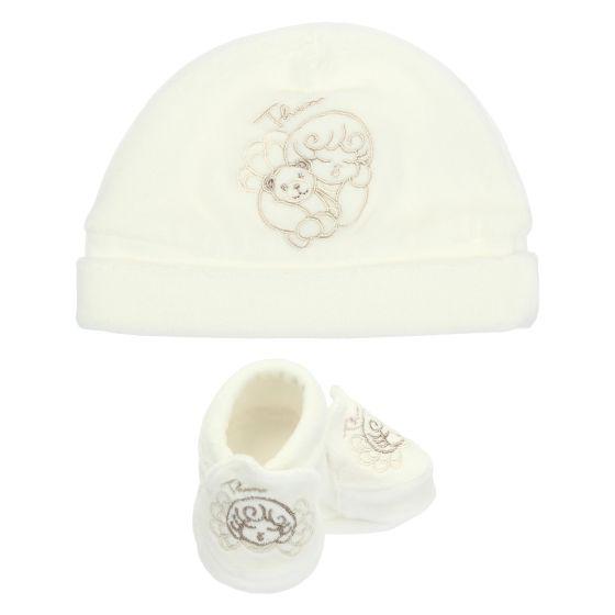 White Unisex Set Hat And Shoes Thun Ovs In Bio Cotton Angel Teddy Thun